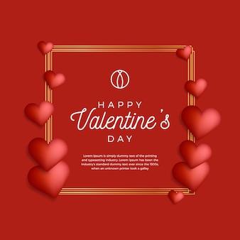 Прекрасный золотой контур рамки или границы с сердечками на день святого валентина