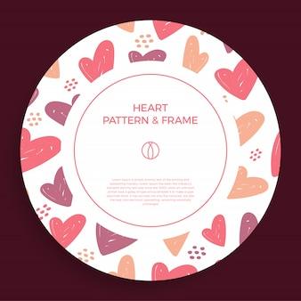愛の手でポスター、バナーまたはカードフレームの境界線は、トレンディな色の心のパターンを描きます。