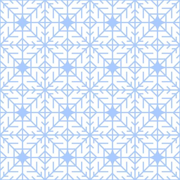 幾何学的な青い様式化された雪片で抽象的な冬のパターン。