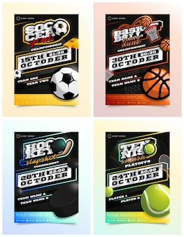 スポーツチラシ広告セット。アイスホッケー、バスケットボール、テニス、サッカーまたはフットボール