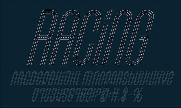 Гоночная дорога алфавит набор. коллекция букв, символов и цифр, выполненная в стиле дороги.