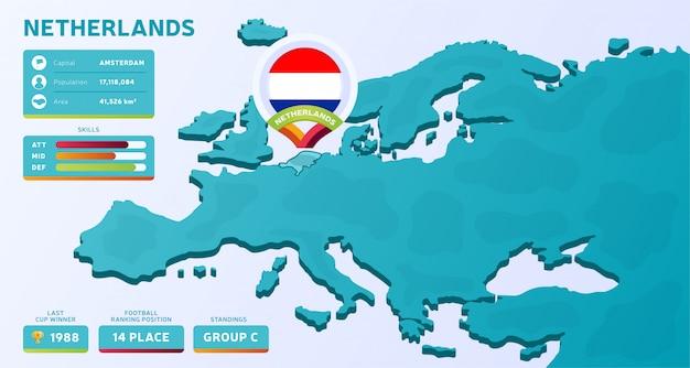 Изометрическая карта европы с выделенной страной нидерланды