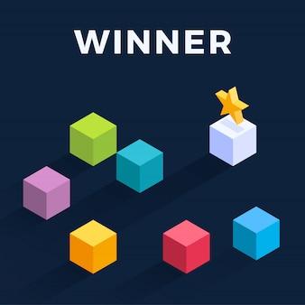 Изометрические движущихся кубов иллюстрации. победитель легко перемещает куб. выигрышная стратегия, эффективность, инновации в бизнес-концепции.