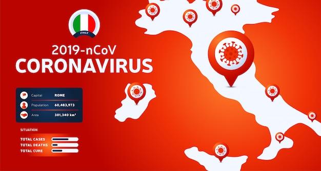 中国武漢からのコロナウイルスの発生。イタリアでの新規コロナウイルスの発生に注意してください。新規コロナウイルスの背景の広がり。