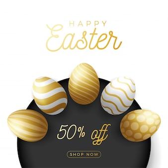 豪華なイースターエッグの正方形のバナー。ロイヤルゴールデンイースターの大きな販売カード、大きな金、白と黒の華やかな卵