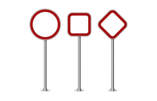 Реалистичные пустой красные улицы и дорожные знаки изолированы. комплект знака уличного движения, иллюстрации направления указателя дороги
