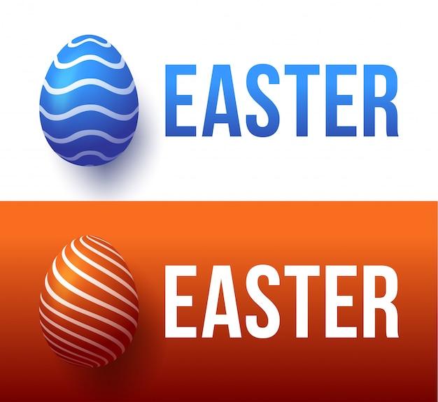Современная модная красочная типография счастливой пасхи на фоне пасхальных яиц.