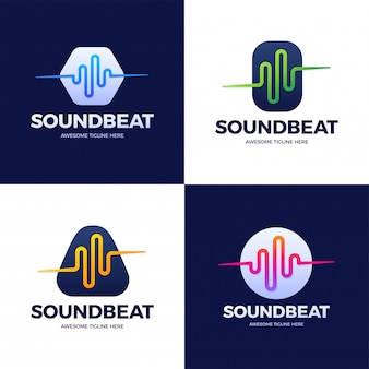 オーディオサウンドウェーブのロゴのテンプレートストックデザインを設定します。ライン抽象的な音楽技術のロゴタイプ。デジタル要素のエンブレム、グラフィック信号波形、カーブ、ボリューム、イコライザー。図。