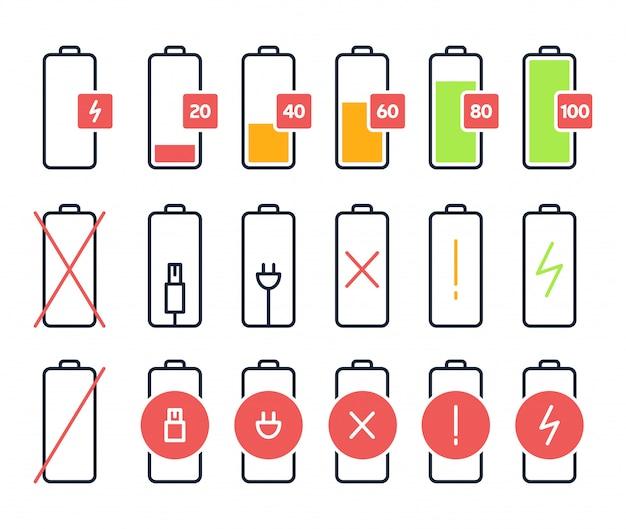 Значки зарядки аккумулятора. уровень заряда аккумулятора, состояние аккумулятора аккумулятора смартфона. индикаторы сигнала батареи сотового телефона изолировали установленные значки.