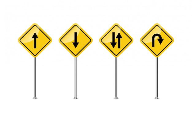 Дорожный знак. предупреждение. кривые и повороты. иллюстрация