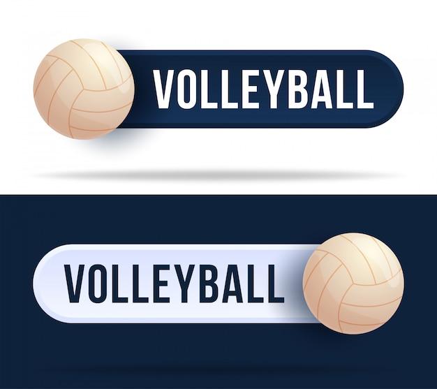 Волейбол кнопки тумблера. иллюстрация с баскетбольным мячом и веб-кнопка с текстом