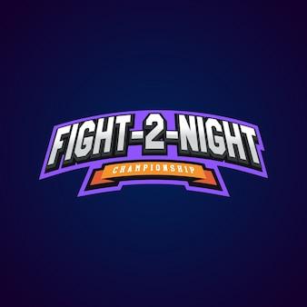 夜の戦い。暗い背景に混合武道スポーツロゴ。