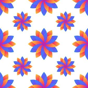 シームレスな青とオレンジのグラデーション花抽象的なパターン