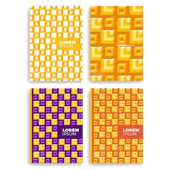 レイヤーオーバーラップを持つカードのための抽象的な正方形のパターンのセット。カバー、プラカード、ポスター、チラシ、バナーデザインに適用されます。