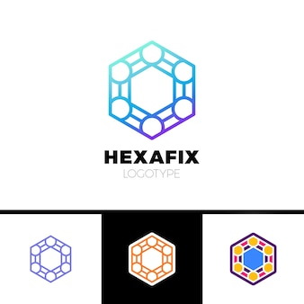 メカニックギアフィックスヘキサゴン抽象的なロゴデザイン