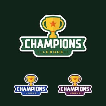 トロフィーとチャンピオンスポーツリーグのロゴエンブレムバッジグラフィック