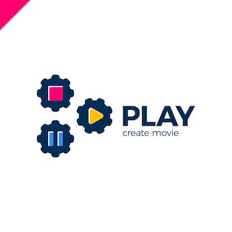 ビデオギアのロゴ付き再生アイコン