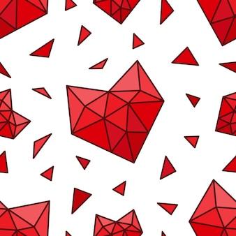シームレスな多角形の心臓バレンタインデーグリーティングカードパターン