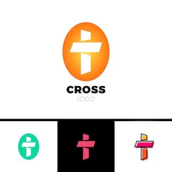 Христианский крест-логотип в простом и чистом стиле. логотип церкви