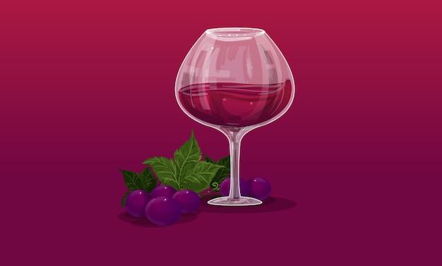 ワイングラスとブドウ