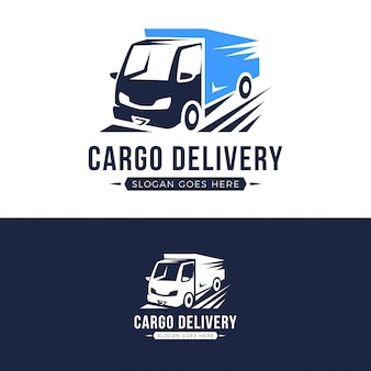 貨物配達トラックのロゴのテンプレート