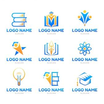 教育の象徴的なロゴセットテンプレート