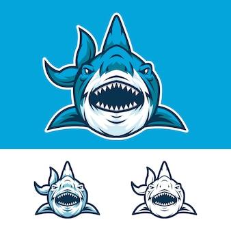 アングリーシャークヘッドマスコットロゴ