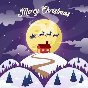 メリークリスマス冬の風景の背景