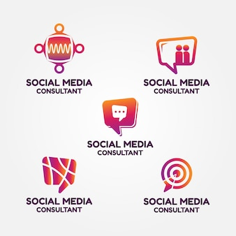 Набор логотипов консультанта по социальным медиа