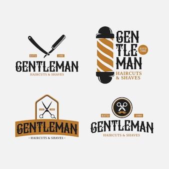 Парикмахерская ретро логотип дизайн пакет