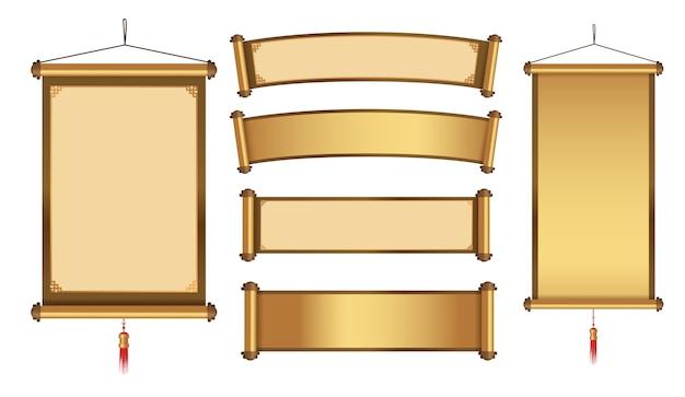 ゴールドをテーマにしたグラフィック要素の中国語ハンギングバナーコレクション