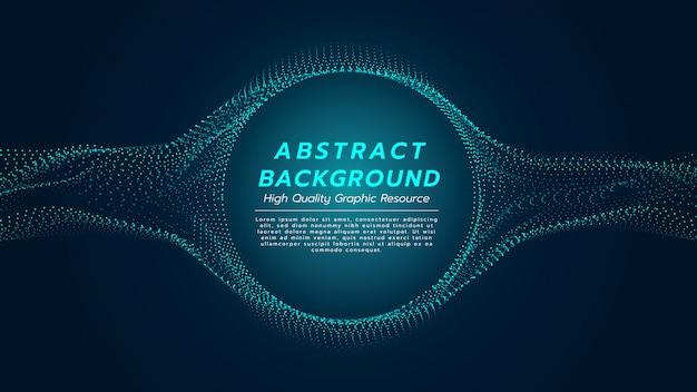 粒子の流れと中心の円で抽象的な背景。
