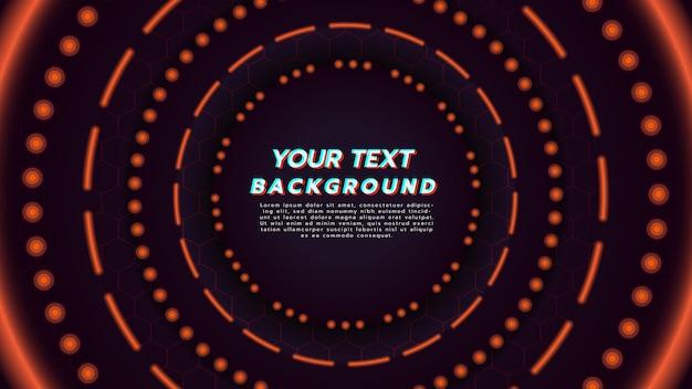 サークルレイアウトでオレンジ色のネオンの光と抽象的な背景。技術コンセプトと現代音楽の背景についての図。