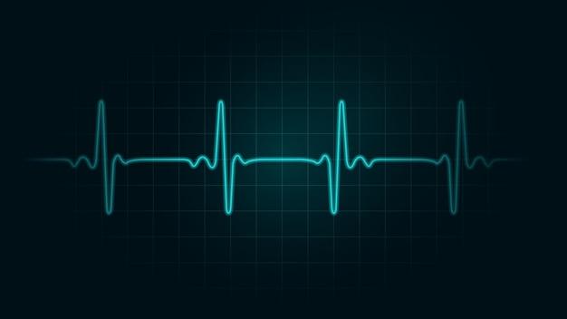 脈拍数モニターの緑色のチャート背景の線。心拍数と心電図モニターについての図。