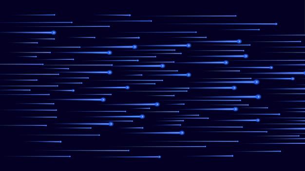 黒に非常に速く流れる青い光の流れ