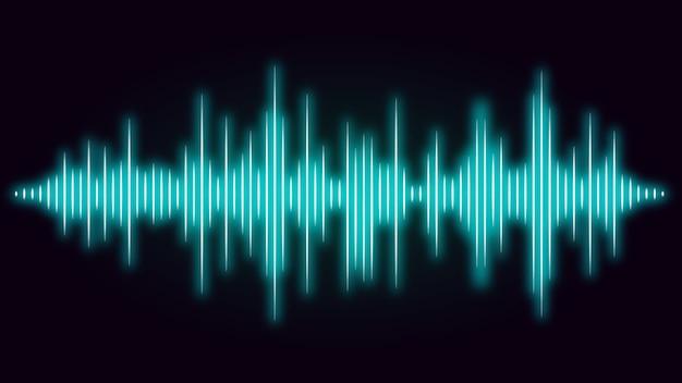 黒い背景に青い色の音波の周波数。オーディオの視覚的な音楽についての図。