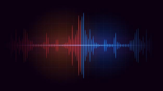赤い音波の周波数と暗い背景の青の間の戦い。音楽とオーディオについての抽象的なイラスト。
