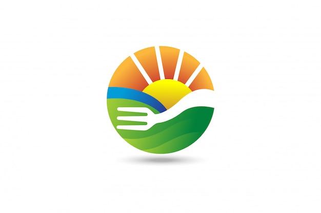 フォーク農業の風景のロゴ