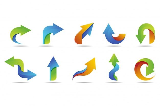 カラフルなスタイルを持つ矢印ベクトルのロゴのコレクション