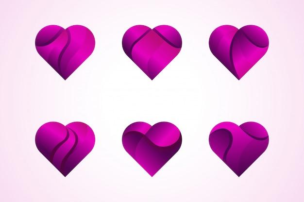 Вектор любви сердца иконки логотип набор.