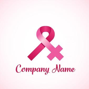 女性の乳がんリボンのロゴ