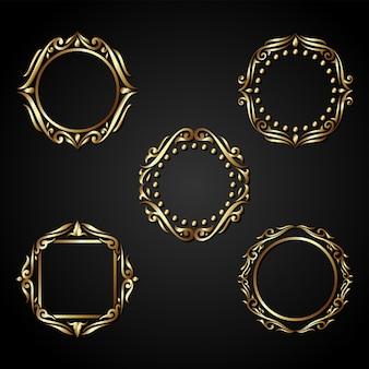 Роскошный золотой круг кадр вектор