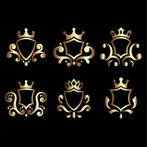 豪華なロイヤルシールドセット。紋章や騎士のエンブレムや紋章入りのシールドクレストに最適