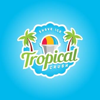 Шаблон логотипа мороженого тропического раздавить