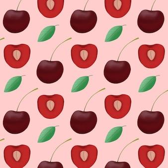 フルーツチェリーパターン背景。