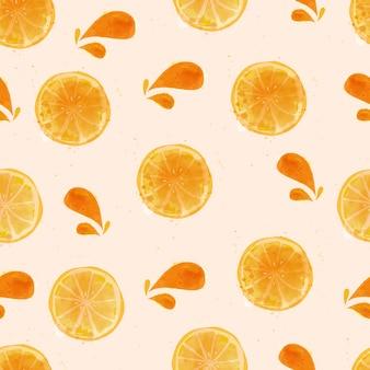 水彩レモンのシームレスパターン