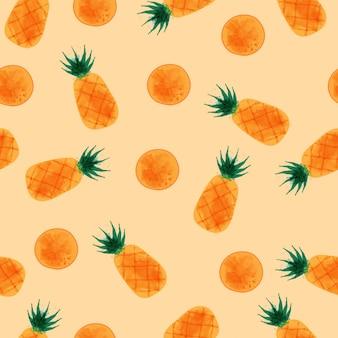 パイナップルのシームレスパターン、水彩パイナップルセット。