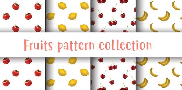 フルーツのシームレスなパターンコレクション、フルーツセット。