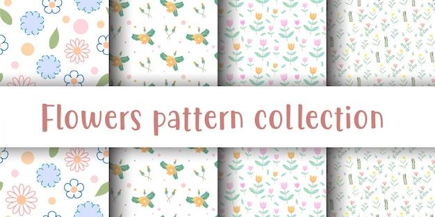 かわいい花のシームレスなパターンのコレクション。