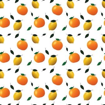 フルーツオレンジとレモンのシームレスパターン。